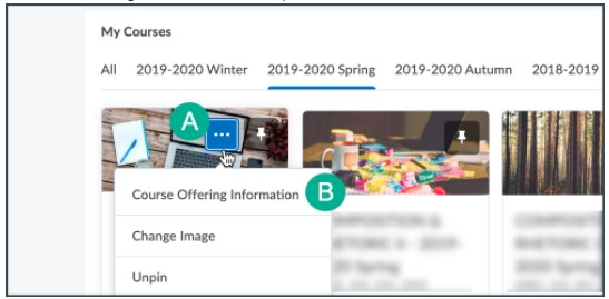 choose Course Offering Information from the dropdown menu (B)