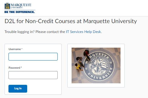 D2L for Non-Credit Courses at Marquette University - How to login