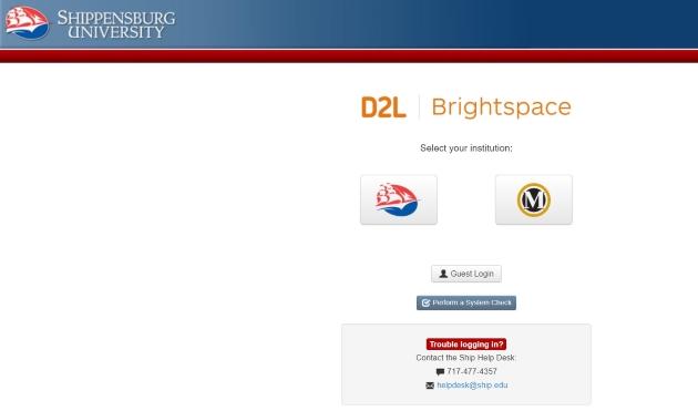 Logging into D2L Brightspace