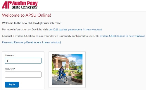 Login to D2L APSU directly by using your AP OneStop credentials