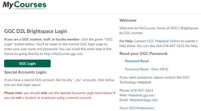 Login to D2L at Georgia Gwinnett College (GGC)