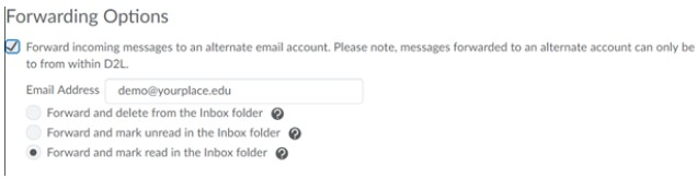 Scroll through the Email, Display, and Forwarding options to select the options