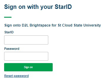 To login to SCSU D2L by using StarID