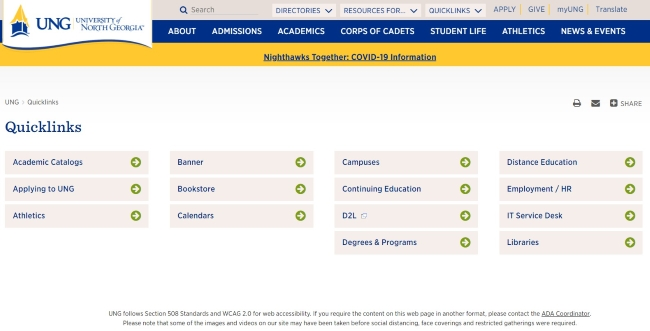access the official website of University of North Georgia (UNG)