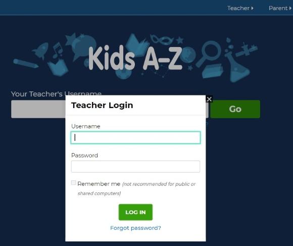 click on the Teacher button
