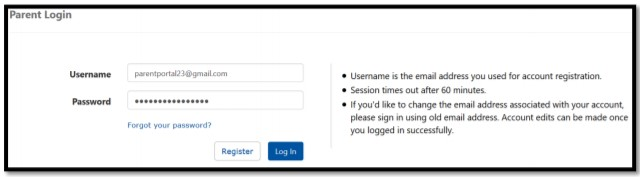 log in to your Parent Portal account