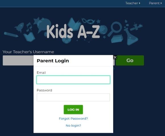 login as a parent by clicking the parent button.