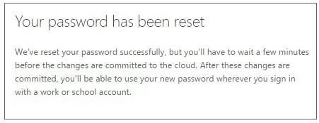 password reset was successful