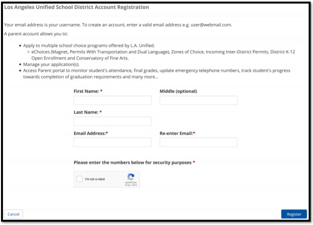 register for an LAUSD account.