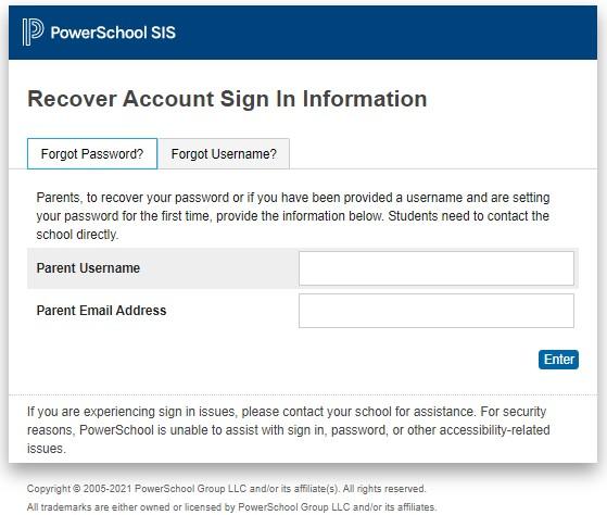 Forgot password PowerSchool Parent Portal