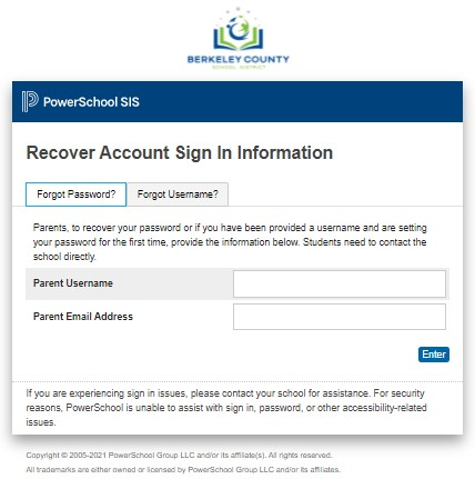 PowerSchool BCSD- Forgot password