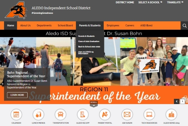 click on the Parents & Students menu at the top.