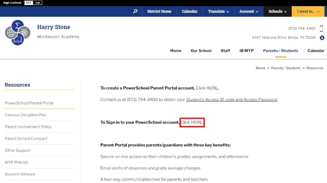 sign in to your PowerSchool account and click
