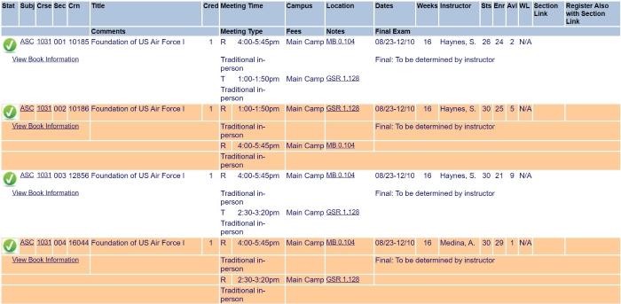 UTSA Class Schedule Fall 2021