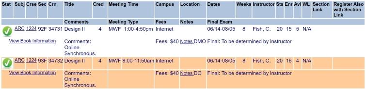 UTSA Class Schedule Summer 2021..