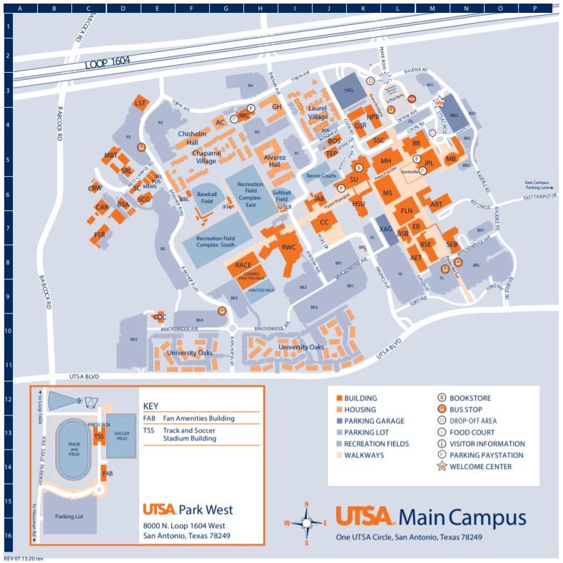 UTSA Main Campus Map