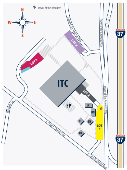 parking map for Downtown Campus which is located at 501 W. Cesar E. Chavez Blvd. San Antonio, Texas 78207