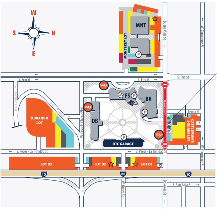 parking map for Downtown Campus which is located at 501 W. Cesar E