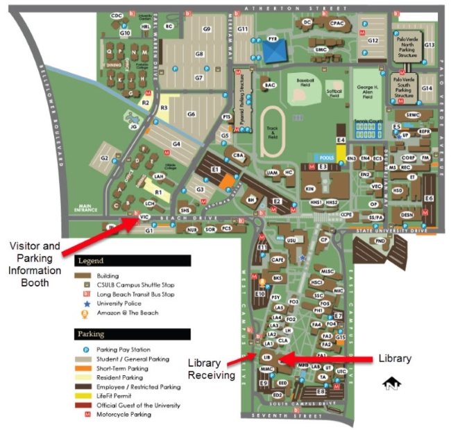 CSULB Library Map instructions